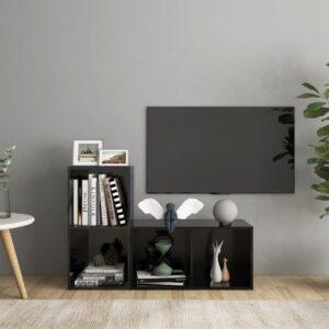 Móveis de TV 2 pcs 72x35x36,5 cm contraplacado preto brilhante - PORTES GRÁTIS