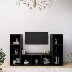 Móveis de TV 3 pcs 107x35x37 cm contraplacado preto - PORTES GRÁTIS