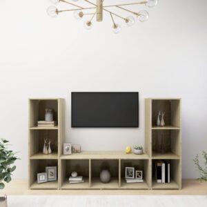 Móveis de TV 3 pcs 107x35x37 cm contraplacado carvalho sonoma - PORTES GRÁTIS