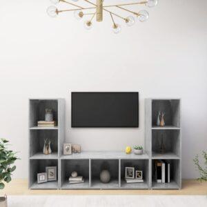 Móveis de TV 3 pcs 107x35x37 cm contraplacado cinzento cimento - PORTES GRÁTIS