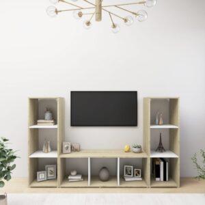 Móveis de TV 3pcs 107x35x37cm contrapl. branco/carvalho sonoma - PORTES GRÁTIS