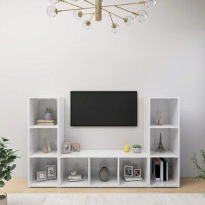 Móveis de TV 3 pcs 107x35x37 cm contraplacado branco brilhante - PORTES GRÁTIS