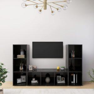 Móveis de TV 3 pcs 107x35x37 cm contraplacado preto brilhante - PORTES GRÁTIS
