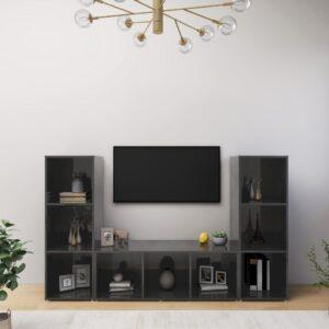 Móveis de TV 3 pcs 107x35x37 cm contraplacado cinza brilhante - PORTES GRÁTIS