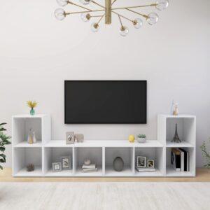 Móveis de TV 4 pcs 72x35x36,5 cm contraplacado branco - PORTES GRÁTIS