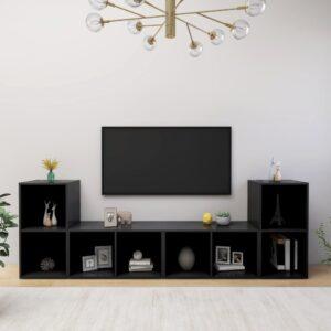 Móveis de TV 4 pcs 72x35x36,5 cm contraplacado preto - PORTES GRÁTIS