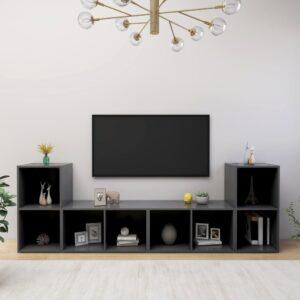 Móveis de TV 4 pcs 72x35x36,5 cm contraplacado cinzento - PORTES GRÁTIS