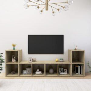 Móveis de TV 4 pcs 72x35x36,5 cm contraplacado carvalho sonoma - PORTES GRÁTIS