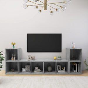 Móveis de TV 4 pcs 72x35x36,5 cm contraplacado cinzento cimento - PORTES GRÁTIS