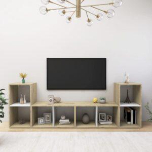 Móveis de TV 4 pcs 72x35x36,5cm contrap. branco/carvalho sonoma - PORTES GRÁTIS