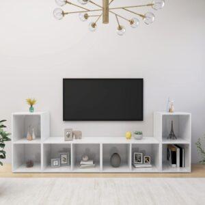 Móveis de TV 4 pcs 72x35x36,5 cm contraplacado branco brilhante - PORTES GRÁTIS