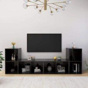 Móveis de TV 4 pcs 72x35x36,5 cm contraplacado preto brilhante - PORTES GRÁTIS
