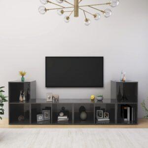 Móveis de TV 4 pcs 72x35x36,5 cm contraplacado cinza brilhante - PORTES GRÁTIS