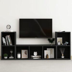 3 pcs conjunto de móveis de TV contraplacado preto - PORTES GRÁTIS