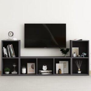 3 pcs conjunto de móveis de TV contraplacado cinzento - PORTES GRÁTIS
