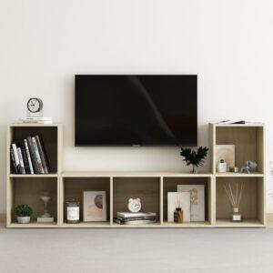 3 pcs conjunto de móveis de TV contraplacado carvalho sonoma - PORTES GRÁTIS