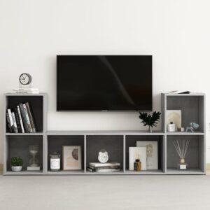 3 pcs conjunto de móveis de TV contraplacado cinzento cimento - PORTES GRÁTIS