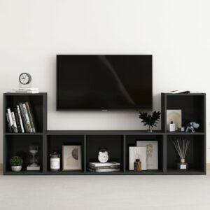 3 pcs conjunto de móveis de TV contraplacado preto brilhante - PORTES GRÁTIS
