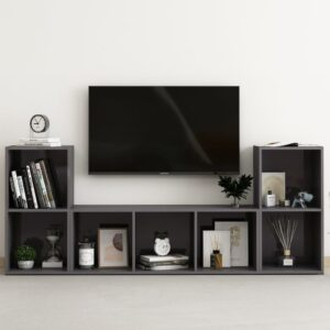 3 pcs conjunto de móveis de TV contraplacado cinzento brilhante - PORTES GRÁTIS