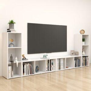 Móveis de TV 4 pcs 107x35x37 cm contraplacado branco - PORTES GRÁTIS