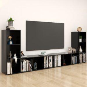 Móveis de TV 4 pcs 107x35x37 cm contraplacado preto - PORTES GRÁTIS