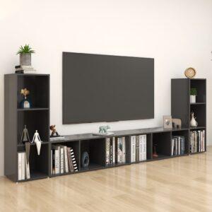 Móveis de TV 4 pcs 107x35x37 cm contraplacado cinzento - PORTES GRÁTIS