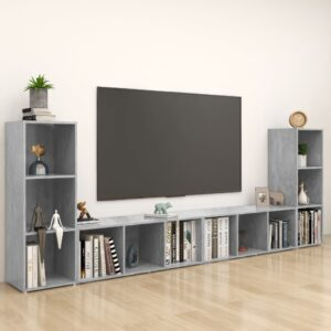Móveis de TV 4 pcs 107x35x37 cm contraplacado cinzento cimento - PORTES GRÁTIS
