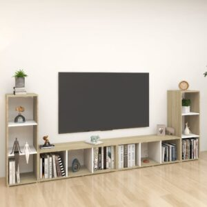 Móveis de TV 4 pcs 107x35x37cm contrapl. branco/carvalho sonoma - PORTES GRÁTIS