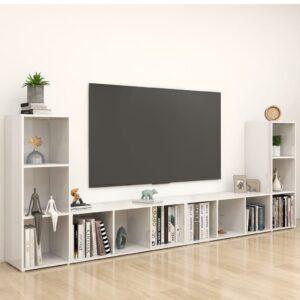 Móveis de TV 4 pcs 107x35x37 cm contraplacado branco brilhante - PORTES GRÁTIS