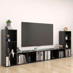 Móveis de TV 4 pcs 107x35x37 cm contraplacado preto brilhante - PORTES GRÁTIS