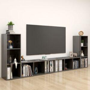 Móveis de TV 4 pcs 107x35x37 cm contraplacado cinza brilhante - PORTES GRÁTIS