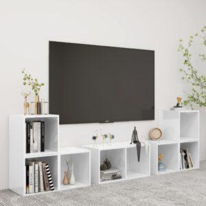6 pcs conjunto de móveis para TV contraplacado branco - PORTES GRÁTIS