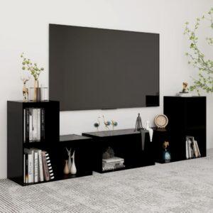 6 pcs conjunto de móveis de TV contraplacado preto - PORTES GRÁTIS
