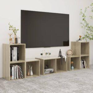 6 pcs conjunto de móveis de TV contraplacado carvalho sonoma - PORTES GRÁTIS