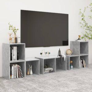 6 pcs conjunto de móveis de TV contraplacado cinzento cimento - PORTES GRÁTIS