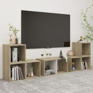 6 pcs conjunto móveis de TV contraplacado branco e carv. sonoma - PORTES GRÁTIS