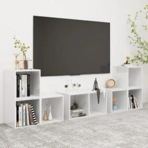 6 pcs conjunto de móveis de TV contraplacado branco brilhante - PORTES GRÁTIS