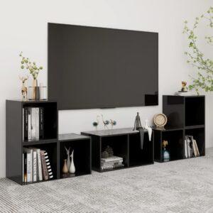 6 pcs conjunto de móveis de TV contraplacado preto brilhante - PORTES GRÁTIS