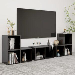 6 pcs conjunto de móveis de TV contraplacado cinzento brilhante - PORTES GRÁTIS