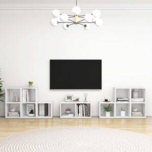 8 pcs conjunto de móveis para TV contraplacado branco - PORTES GRÁTIS