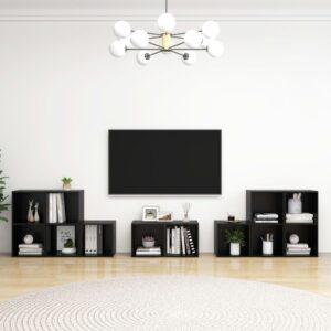 8 pcs conjunto de móveis de TV contraplacado preto - PORTES GRÁTIS