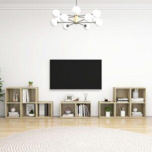8 pcs conjunto de móveis de TV contraplacado carvalho sonoma - PORTES GRÁTIS