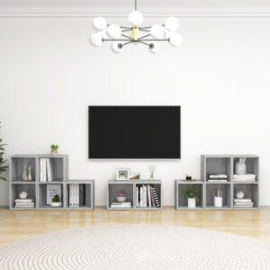 8 pcs conjunto de móveis de TV contraplacado cinzento cimento - PORTES GRÁTIS