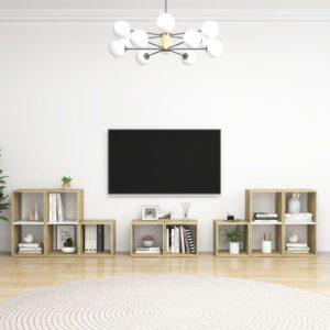 8 pcs conjunto móveis de TV contraplacado branco e carv. sonoma - PORTES GRÁTIS