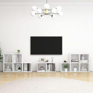 8 pcs conjunto de móveis de TV contraplacado branco brilhante - PORTES GRÁTIS