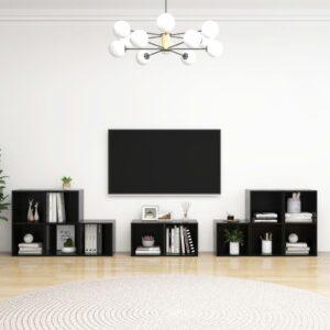 8 pcs conjunto de móveis de TV contraplacado preto brilhante - PORTES GRÁTIS