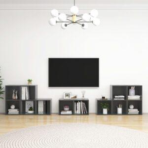 8 pcs conjunto de móveis de TV contraplacado cinzento brilhante - PORTES GRÁTIS