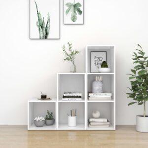3 pcs conjunto de móveis para TV contraplacado branco - PORTES GRÁTIS