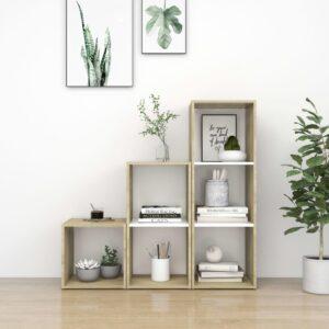 3 pcs conjunto móveis de TV contraplacado branco e carv. sonoma - PORTES GRÁTIS