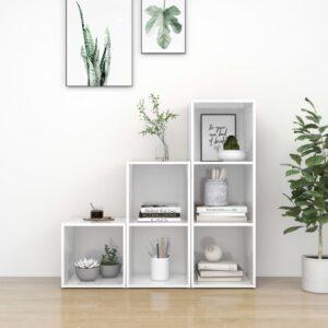 3 pcs conjunto de móveis de TV contraplacado branco brilhante - PORTES GRÁTIS
